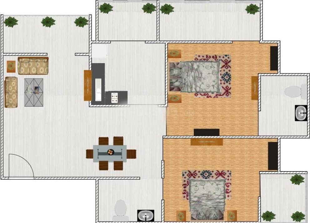 Mahagun Mosaic Floor Plan: 2 BHK Unit with Built up area of 1025 sq.ft 1