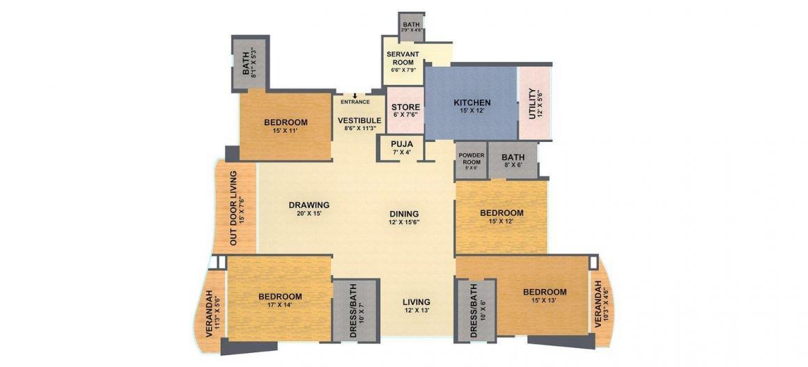 Sanskrut Jewel Residency Floor Plan: 4 BHK Unit with Built up area of 4625 sq.ft 1