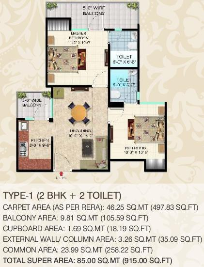 SCC Blossom Pmay Ph 3 Block A And Block B Floor Plan: 2 BHK Unit with Built up area of 915 sq.ft 1