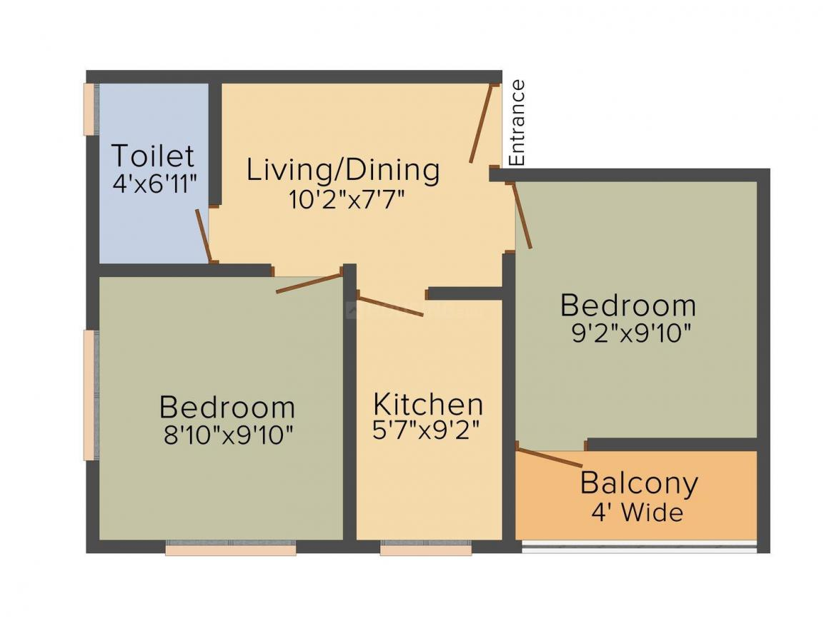 Floor Plan Image of 676 - 1235 Sq.ft 2 BHK Apartment for buy in Bidyut Ghosh Mohini Housing
