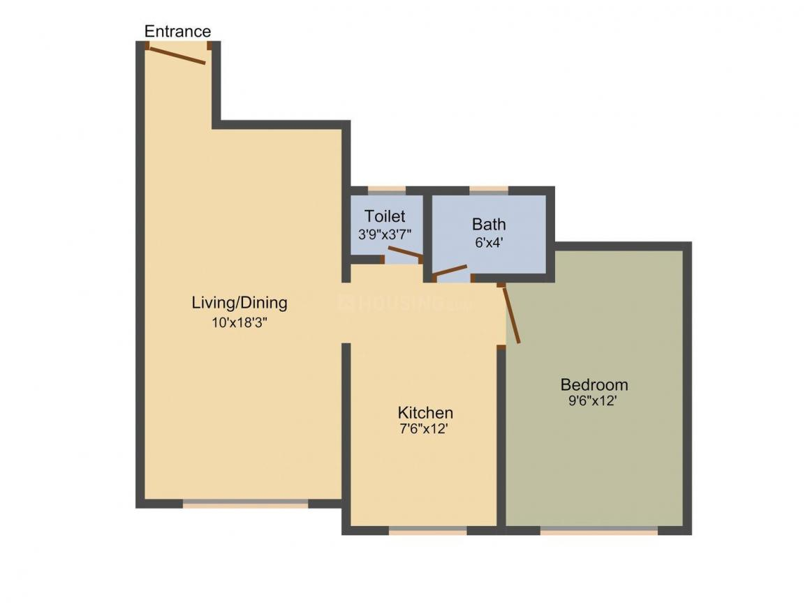 Floor Plan Image of 0 - 580 Sq.ft 1 BHK Apartment for buy in Bafna Iris & Ivy