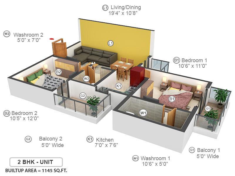 Emenox La Solara Floor Plan: 2 BHK Unit with Built up area of 1145 sq.ft 1