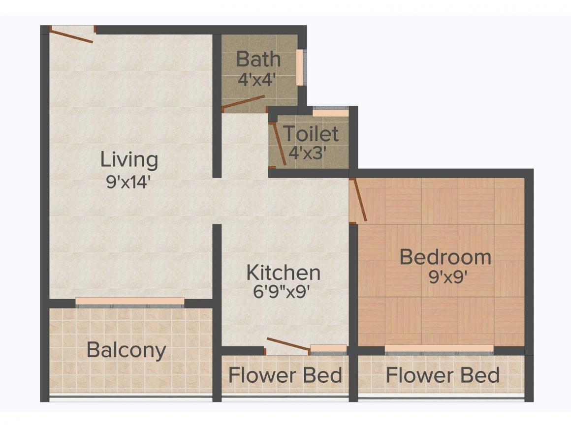 Floor Plan Image of 450 - 665 Sq.ft 1 BHK Apartment for buy in Shubh Laxmi Laxmi Kalash
