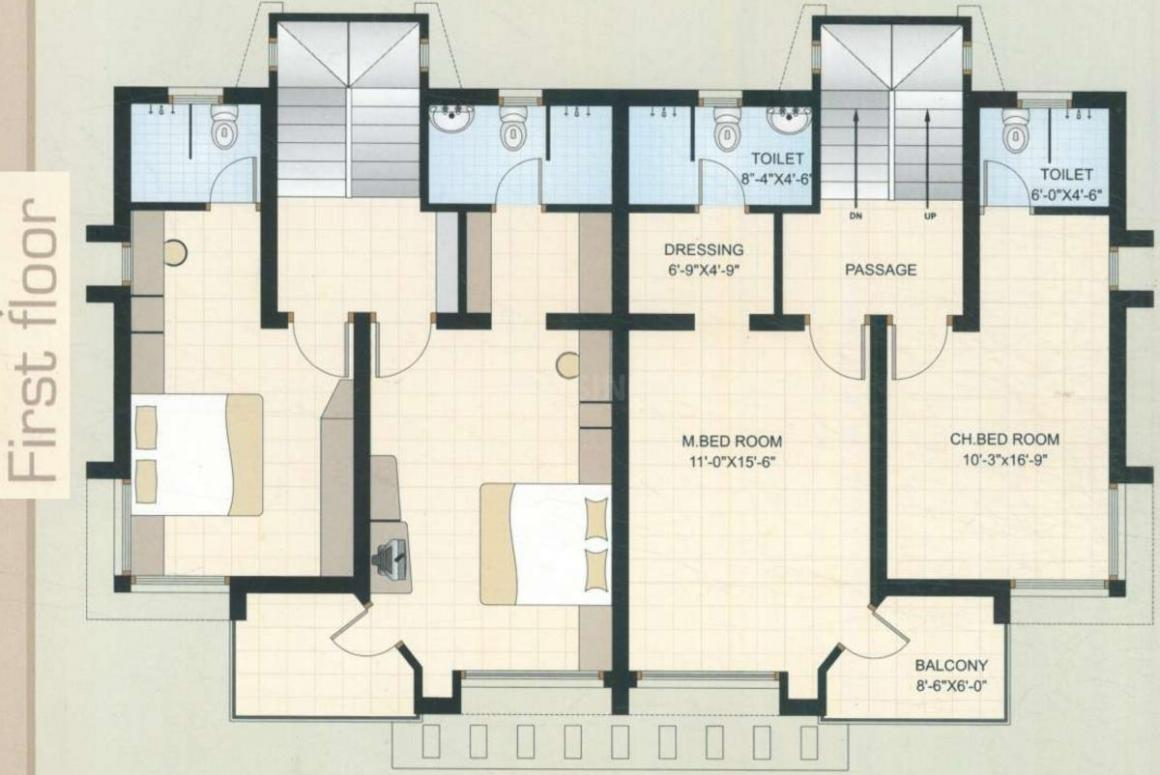 Kamlesh Nilamber Bungalows 3 Floor Plan: 3 BHK Unit with Built up area of 1575 sq.ft 2