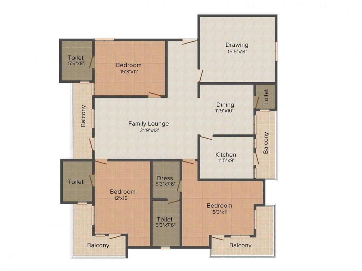 Floor Plan Image of 2610.0 - 2630.0 Sq.ft 3 BHK Apartment for buy in SDC Oasis