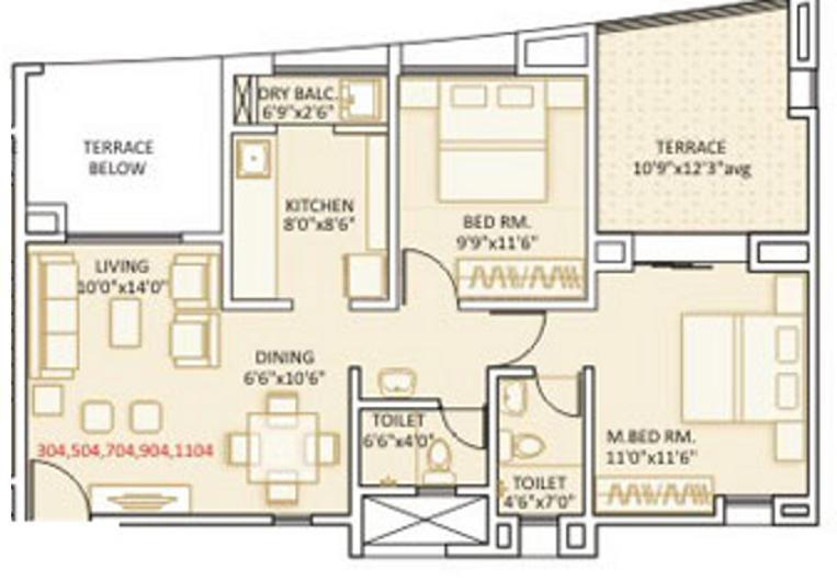 SRK Ovalnest Floor Plan: 2 BHK Unit with Built up area of 888 sq.ft 1