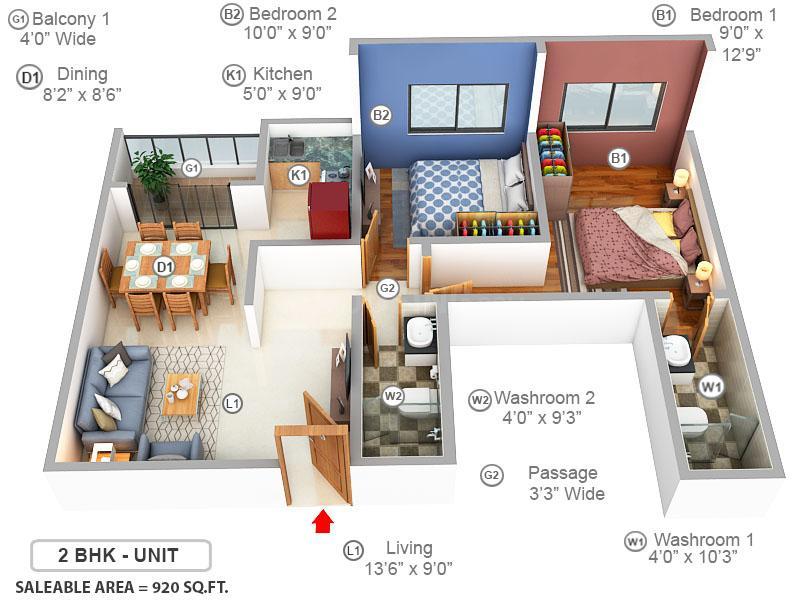 Meridian Splendora Floor Plan: 2 BHK Unit with Built up area of 920 sq.ft 1