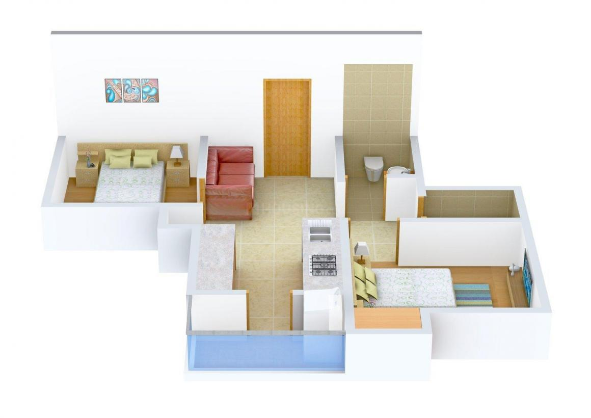Floor Plan Image of 615.0 - 1452.0 Sq.ft 2 BHK Apartment for buy in Akshaya Republic