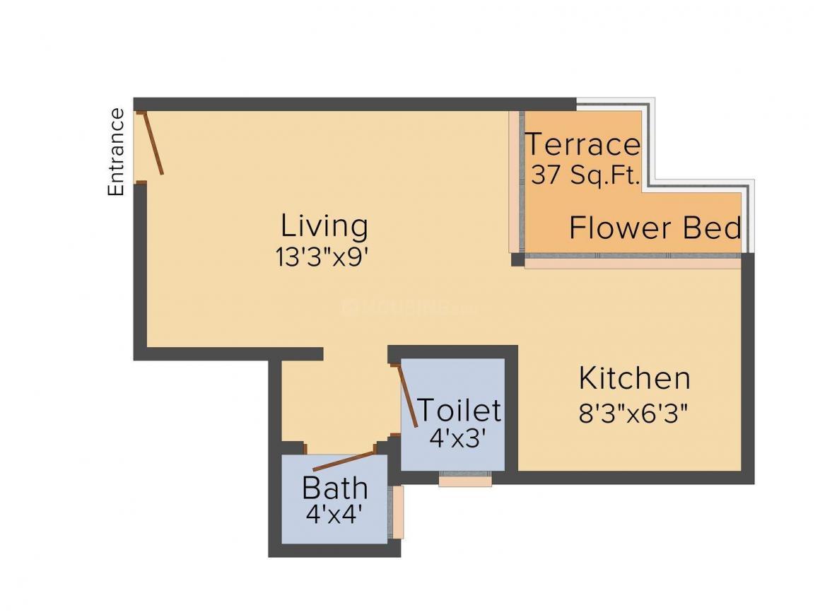 Floor Plan Image of 390 - 665 Sq.ft 1 RK Apartment for buy in Shreeji Darshan