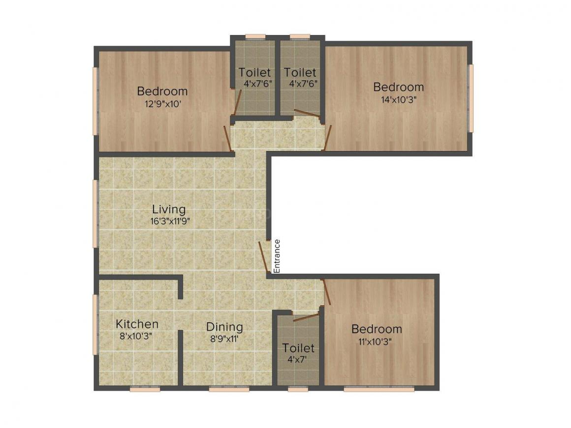 Shamik Esteen Floor Plan: 3 BHK Unit with Built up area of 1573 sq.ft 1