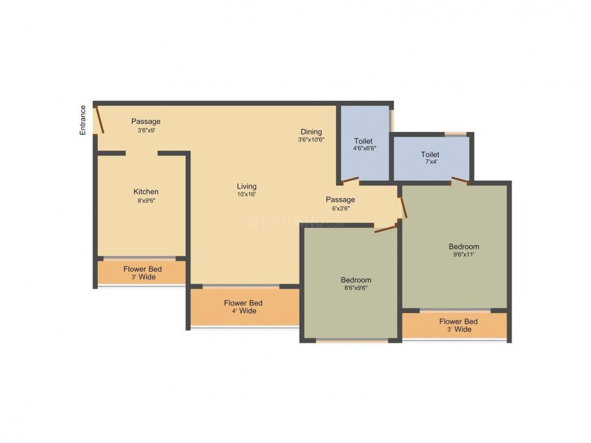 Floor Plan Image of 1005.0 - 1350.0 Sq.ft 2 BHK Apartment for buy in Ravi Gaurav Phase II