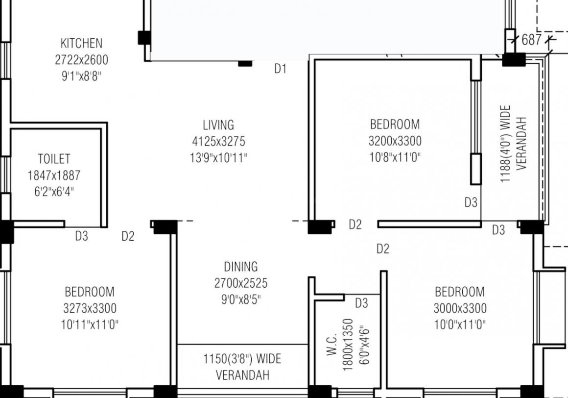 Danish JD CHS Floor Plan: 3 BHK Unit with Built up area of 1268 sq.ft 1