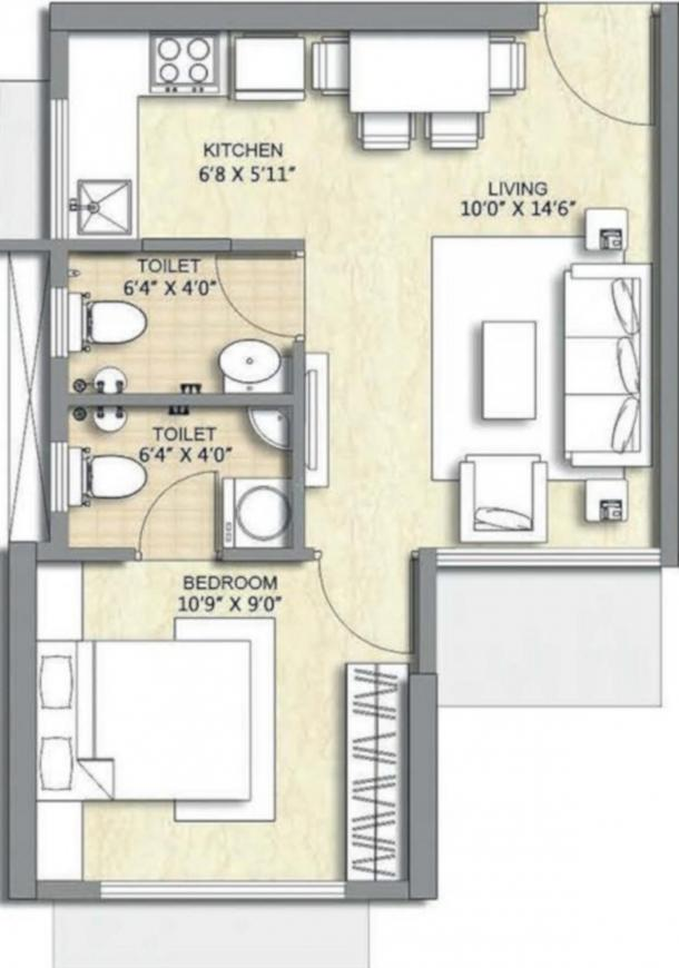 Chandak Nishchay Wing F Floor Plan: 1 BHK Unit with Built up area of 342 sq.ft 1