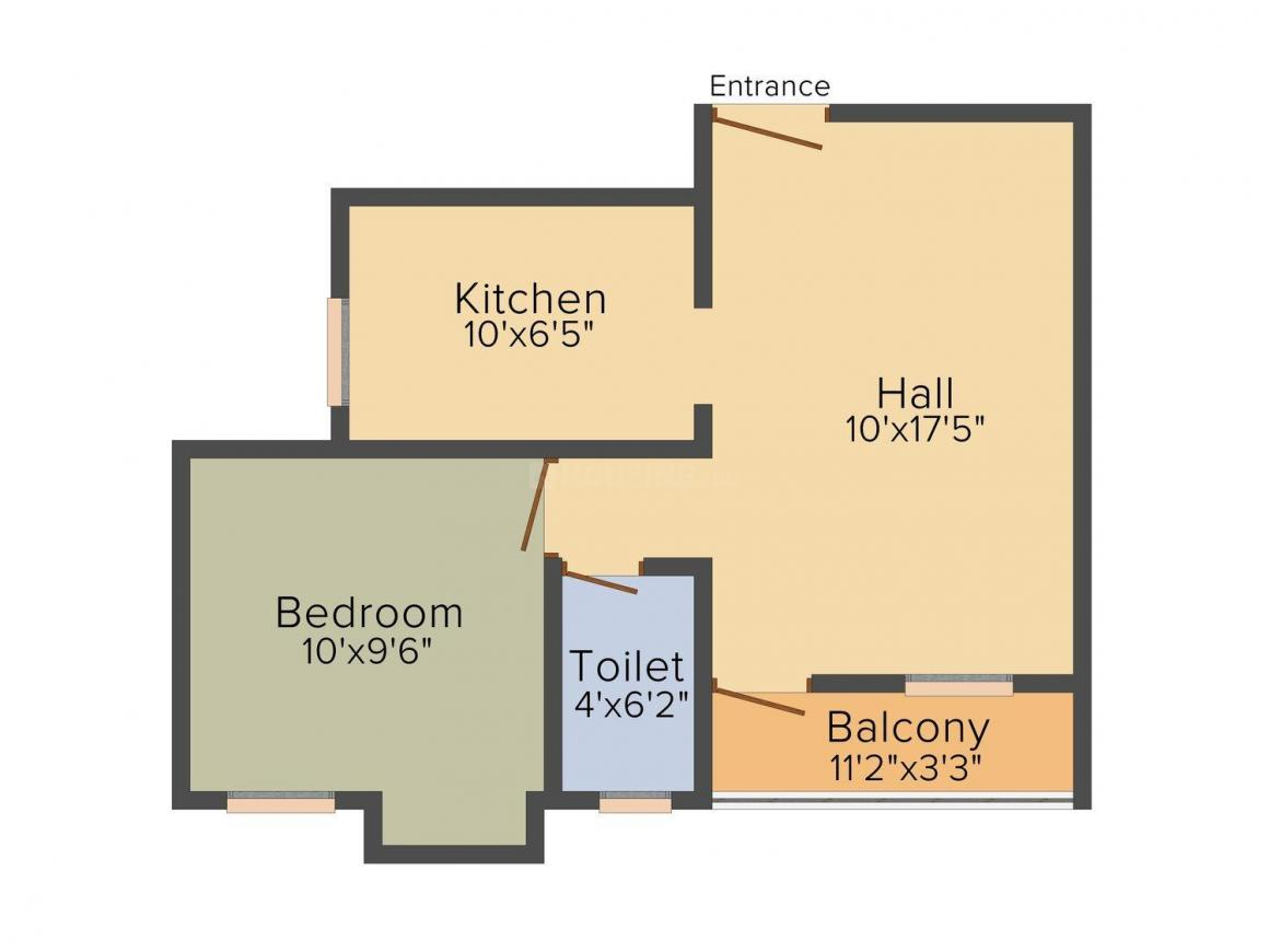 Floor Plan Image of 444.0 - 994.0 Sq.ft 1 BHK Apartment for buy in Vijay Jothi Pippins