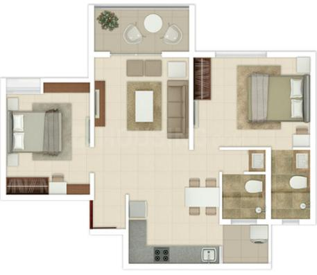 Rohan Ananta Phase II Floor Plan: 2 BHK Unit with Built up area of 637 sq.ft 1
