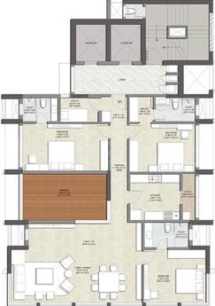 Kalpataru Matru Ashish Floor Plan: 3 BHK Unit with Built up area of 1613 sq.ft 1