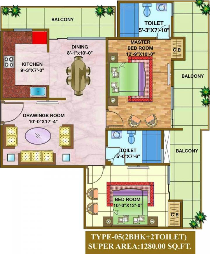 Nandini The Vasundhara Grand Floor Plan: 2 BHK Unit with Built up area of 1280 sq.ft 2