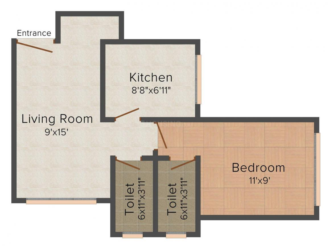 Maa Maa Enrich Floor Plan: 1 BHK Unit with Built up area of 380 sq.ft 1