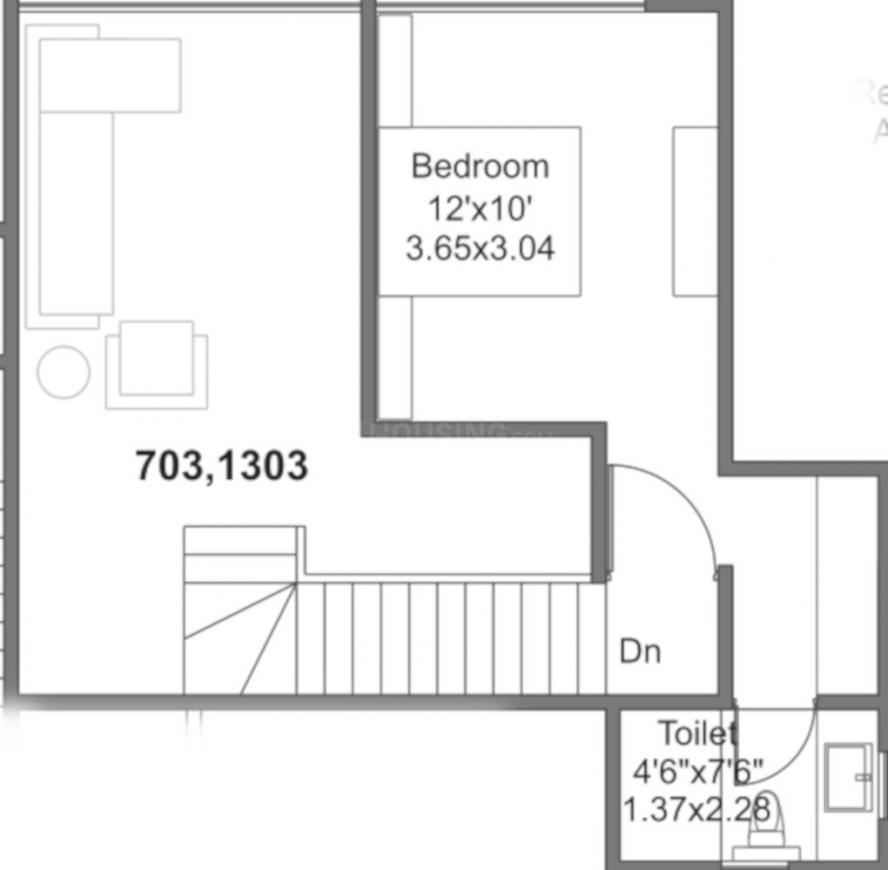 Mantra Montana Phase 6 Floor Plan: 2 BHK Unit with Built up area of 824 sq.ft 2