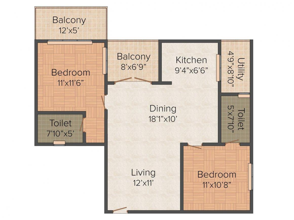 Floor Plan Image of 1170 - 1440 Sq.ft 2 BHK Apartment for buy in SLV Greens