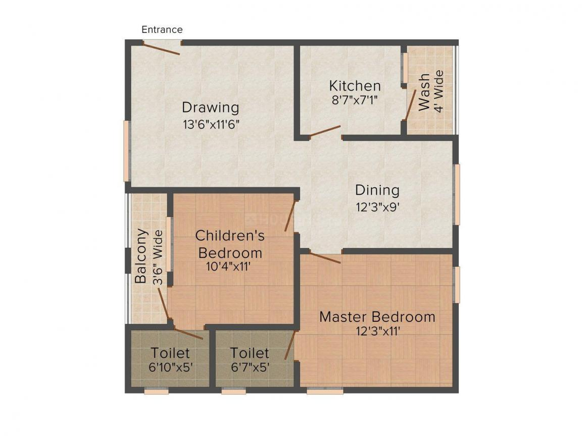 Floor Plan Image of 1015 - 1615 Sq.ft 2 BHK Apartment for buy in Technopolis Solitaire Swamy