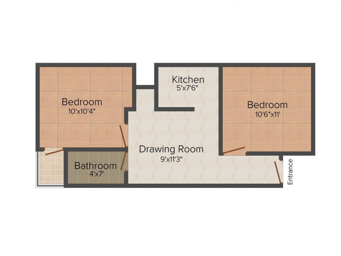 Kaushi Kaushaliya Tower  2 Floor Plan: 2 BHK Unit with Built up area of 650 sq.ft 1