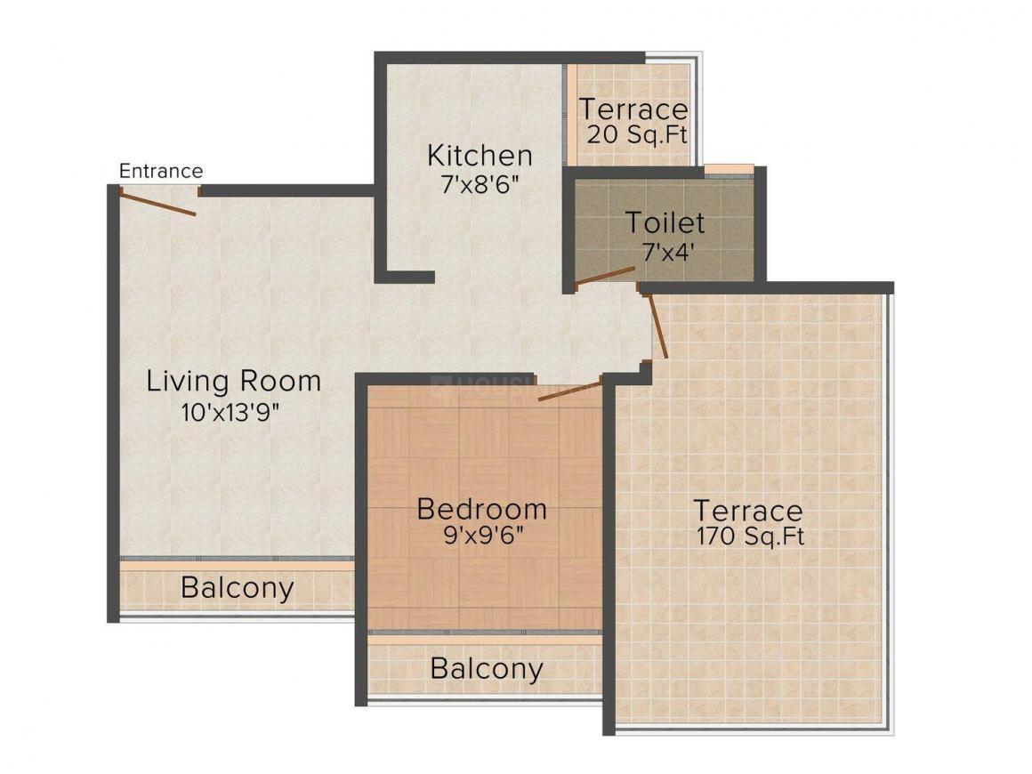 Floor Plan Image of 0 - 590.0 Sq.ft 1 BHK Apartment for buy in Geeta Khodiyal Paradise