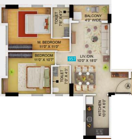 Primarc Allure Floor Plan: 2 BHK Unit with Built up area of 623 sq.ft 1