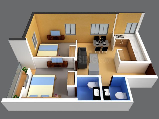 DAC Shrikar Floor Plan: 2 BHK Unit with Built up area of 730 sq.ft 1