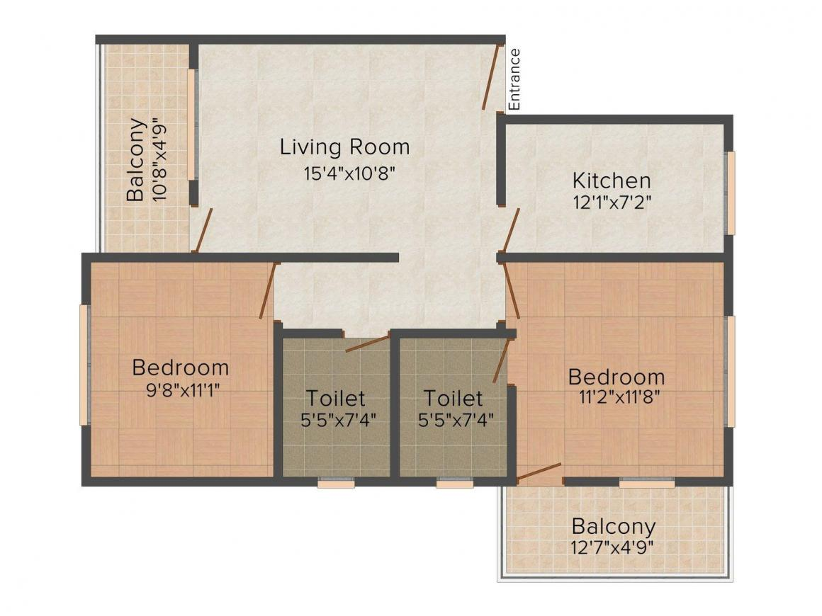 Floor Plan Image of 904 - 1200 Sq.ft 2 BHK Apartment for buy in Queeny Meadows Apartments