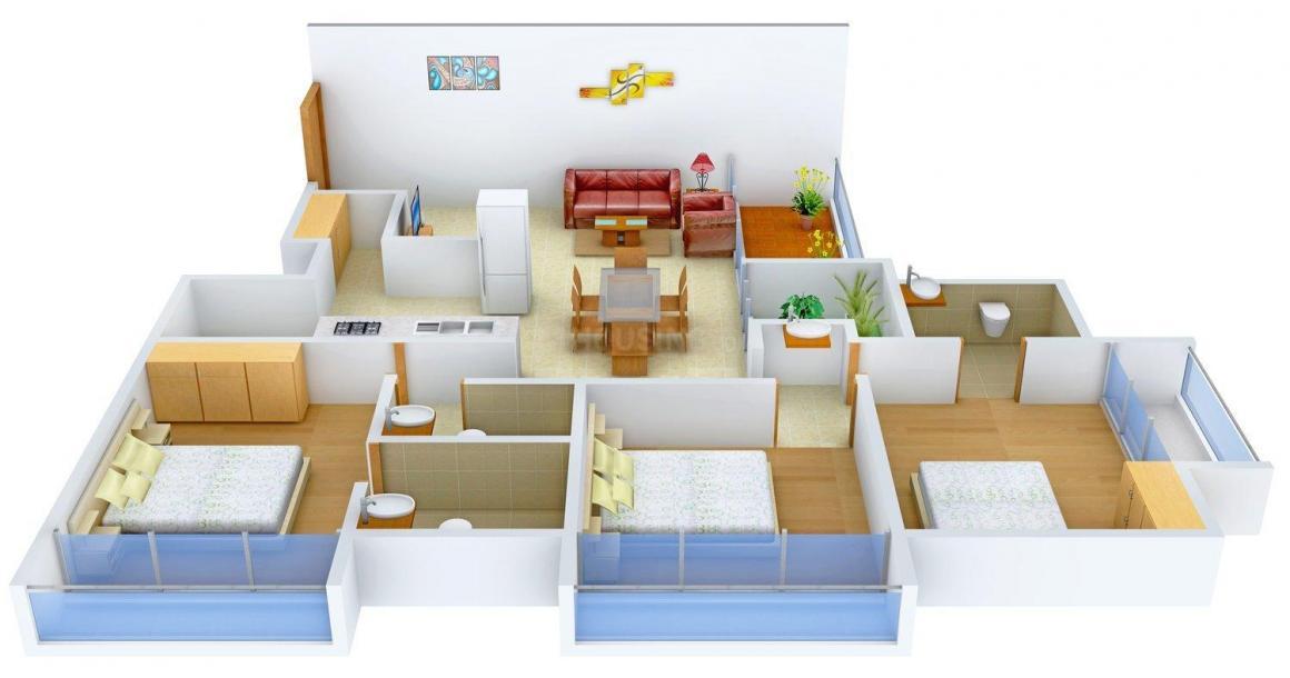 Skyline Ganesh Skyline Floor Plan: 3 BHK Unit with Built up area of 1710 sq.ft 1