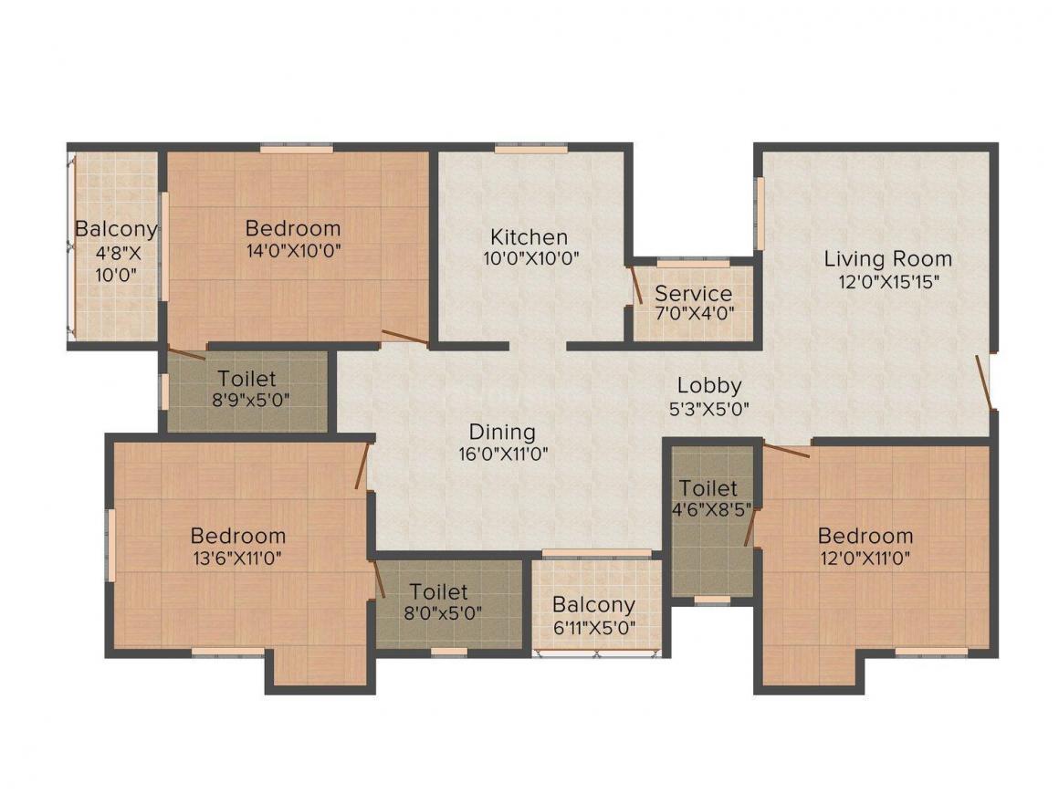 Nahar Jaltarang Floor Plan: 3 BHK Unit with Built up area of 1685 sq.ft 1