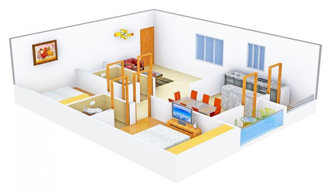 Floor Plan Image of 1100 - 1503 Sq.ft 2 BHK Apartment for buy in Sunshine Residency