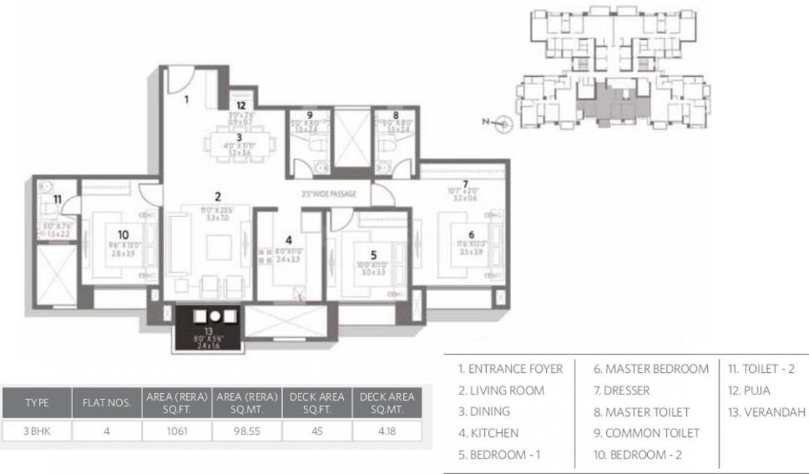 Hiranandani Amalfi Floor Plan: 3 BHK Unit with Built up area of 1061 sq.ft 1