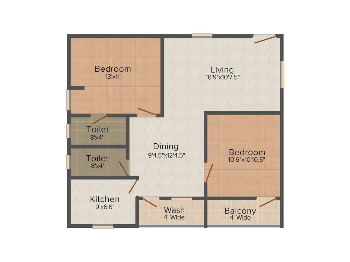 Floor Plan Image of 1085.0 - 1450.0 Sq.ft 2 BHK Apartment for buy in Shyam Heights Phase I & II
