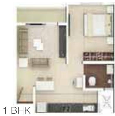 Rohan Upavan Phase 5 Floor Plan: 1 BHK Unit with Built up area of 610 sq.ft 1