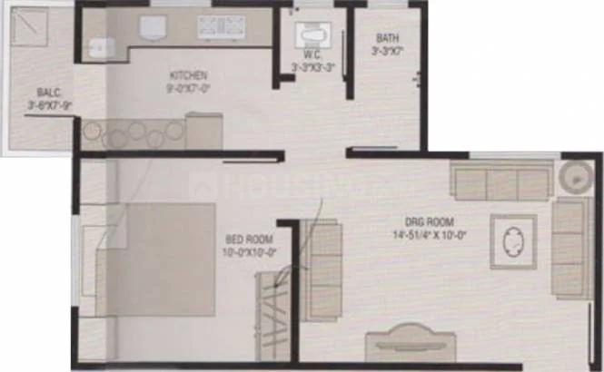 Panchshlok Residency Floor Plan: 1 BHK Unit with Built up area of 720 sq.ft 1