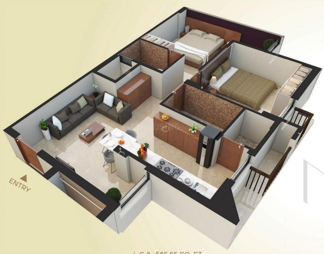 Samyaka Floor Plan: 2 BHK Unit with Built up area of 1020 sq.ft 1