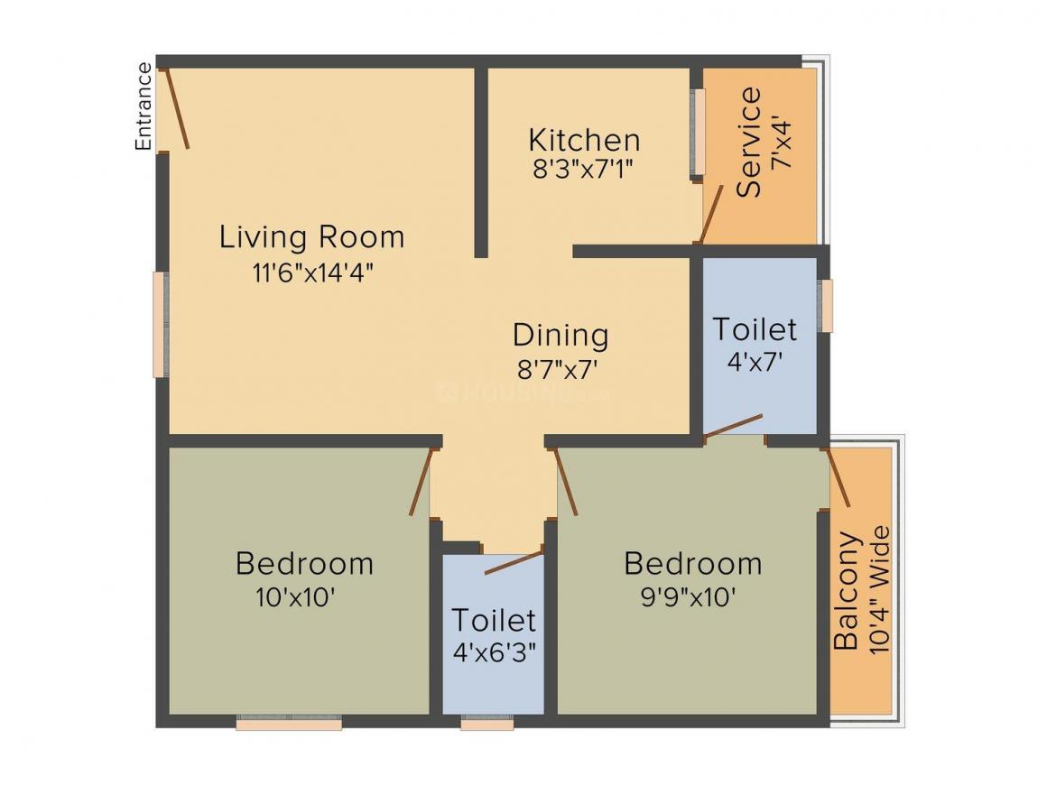Floor Plan Image of 880 - 1120 Sq.ft 2 BHK Apartment for buy in Chelliah Chandar CC Majestic Enclave