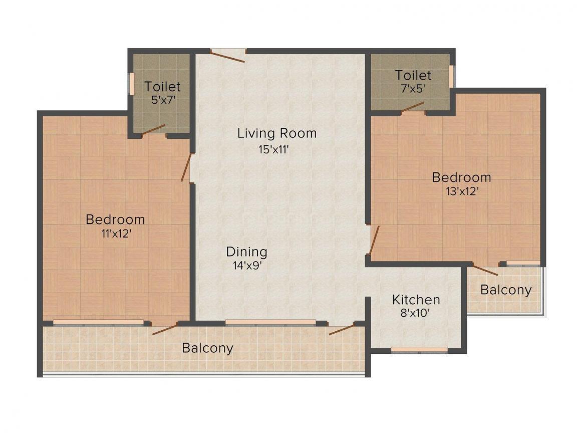 Floor Plan Image of 1050.0 - 2500.0 Sq.ft 2 BHK Apartment for buy in Colors Regalia