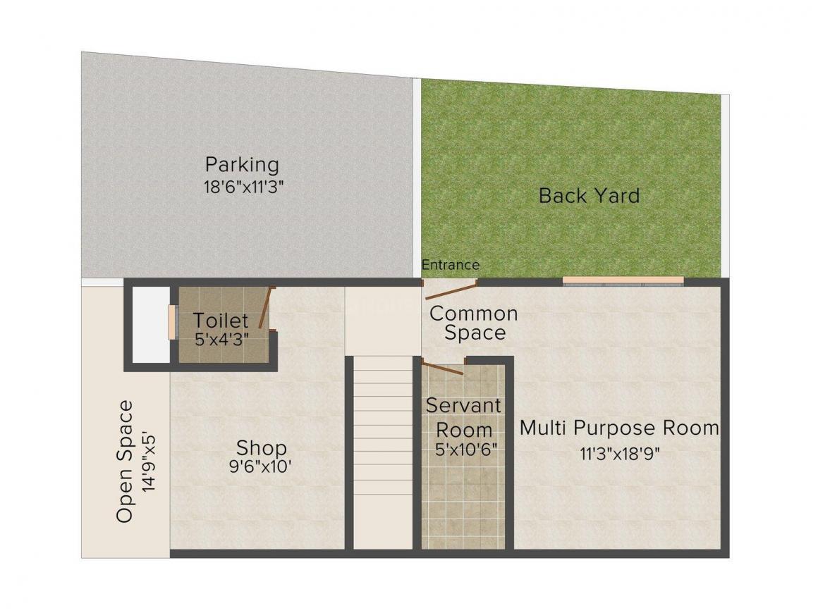Floor Plan Image of 0 - 1207.0 Sq.ft 2 BHK Villa for buy in Gandhi Fairfield Cottage