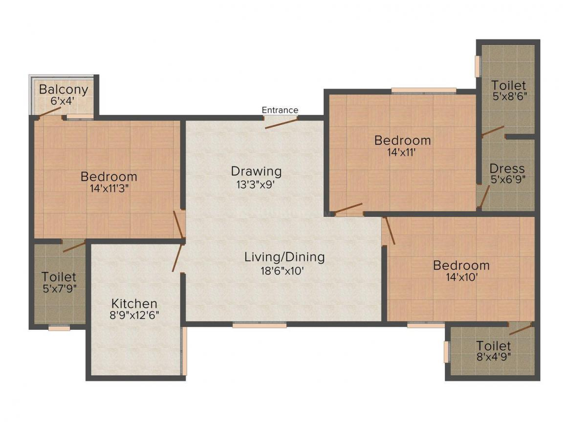 Floor Plan Image of 1453.0 - 2027.0 Sq.ft 2 BHK Apartment for buy in Amit Ria Homes