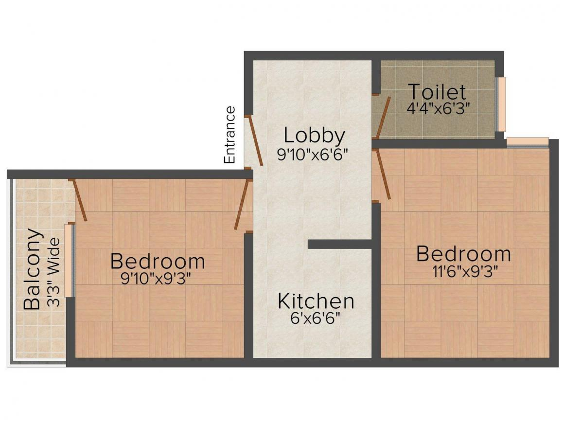Floor Plan Image of 0 - 450 Sq.ft 2 BHK Independent Floor for buy in Swami Homes - IV
