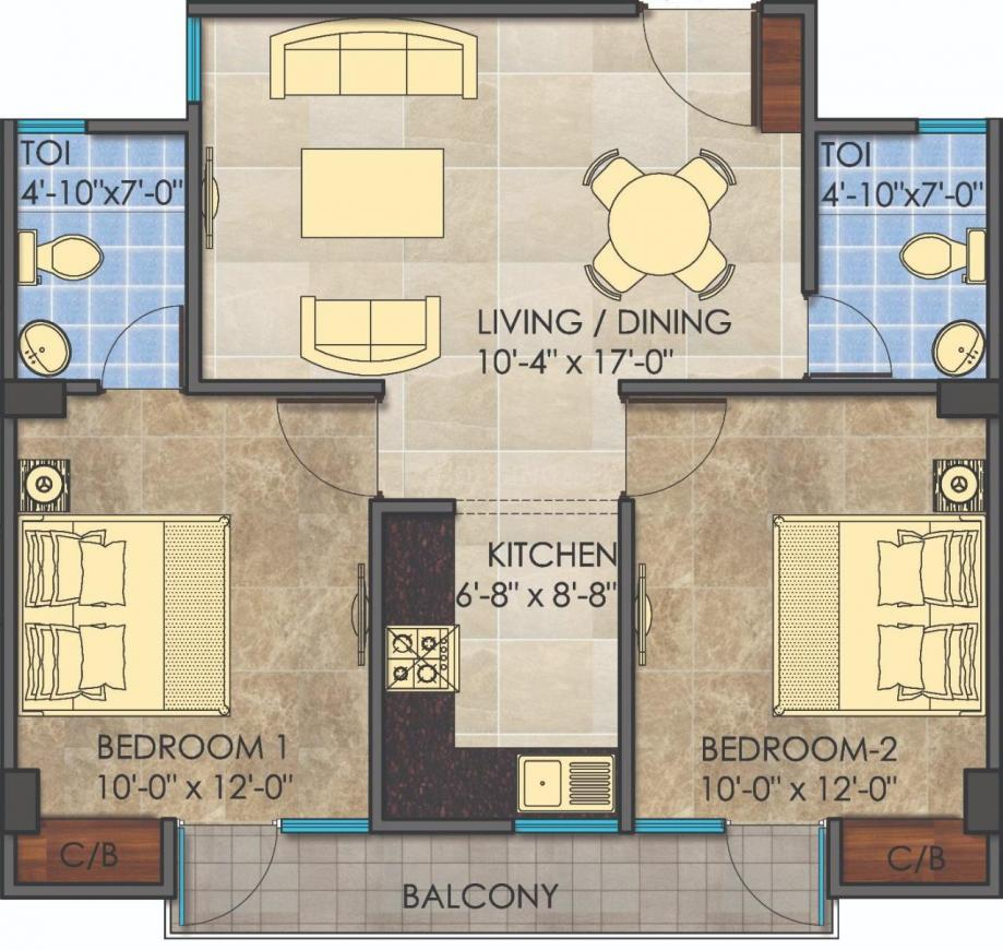 Floor Plan Image of 0 - 1166 Sq.ft 2 BHK Apartment for buy in Nirmal Young India Homes