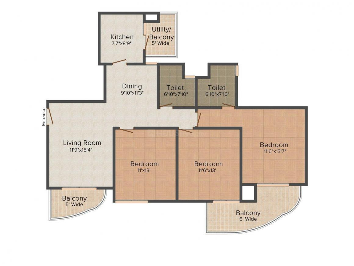 Floor Plan Image of 1550.0 - 3100.0 Sq.ft 3 BHK Apartment for buy in ATS Greens Tangerine
