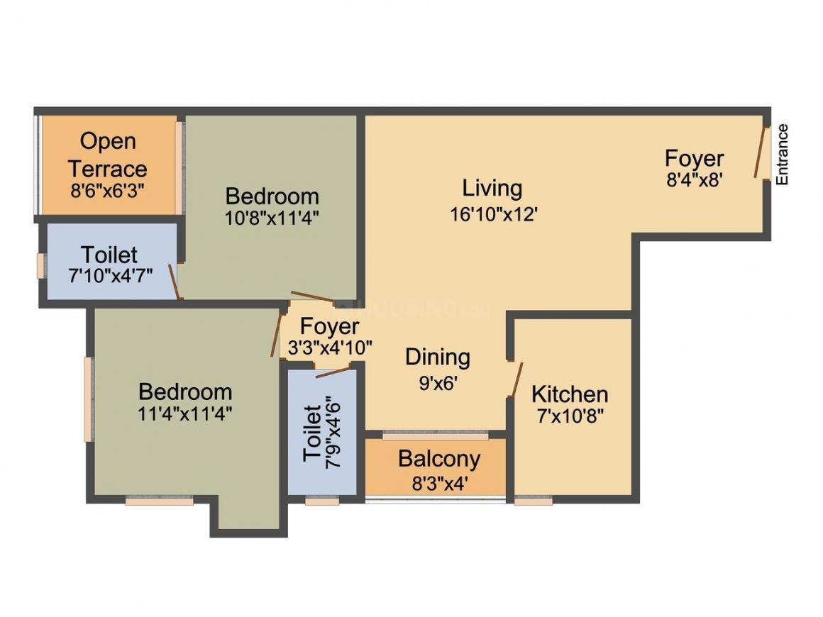 Merlin Regalia Floor Plan: 2 BHK Unit with Built up area of 881 sq.ft 2