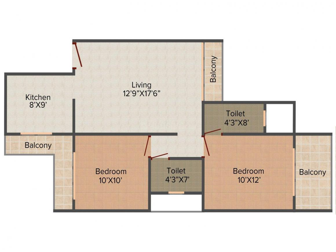 Floor Plan Image of 0 - 1155 Sq.ft 2 BHK Apartment for buy in Lakhani's  Aura