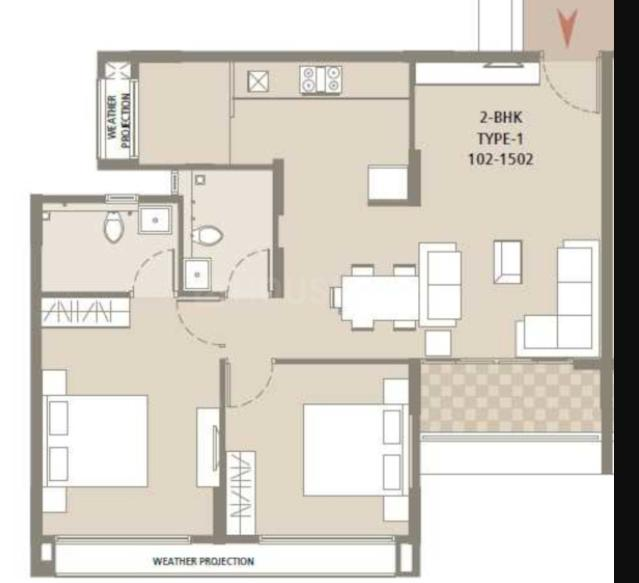 Arvind Bel Air Floor Plan: 2 BHK Unit with Built up area of 1133 sq.ft 1
