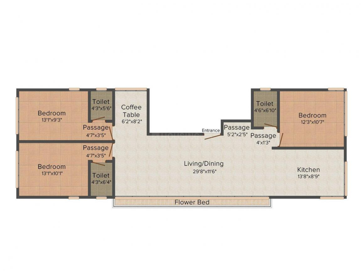 Floor Plan Image of 0 - 1117.0 Sq.ft 3 BHK Apartment for buy in SRP Gurukrupa House