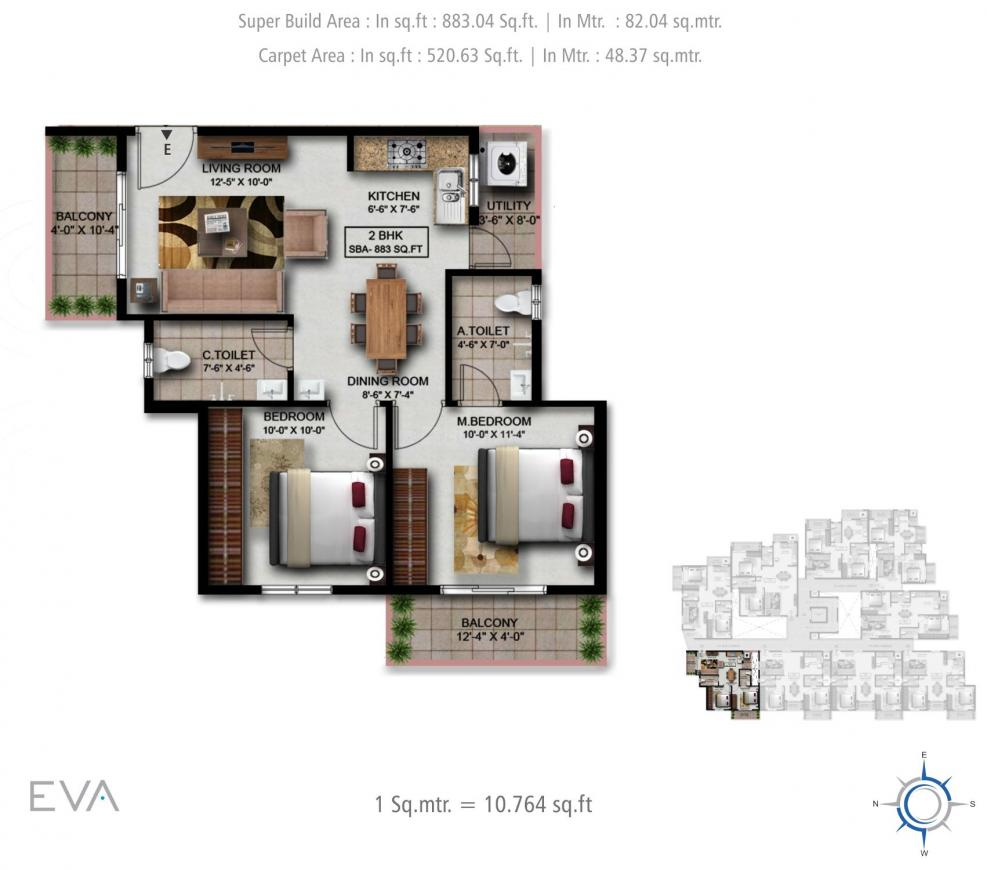 V Venture EVA Floor Plan: 2 BHK Unit with Built up area of 883 sq.ft 1